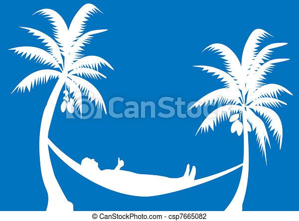 hammock with coconuts - csp7665082