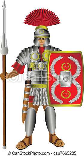 Roman centurion on white - csp7665285