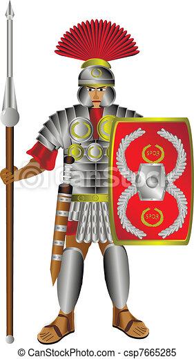 Roman centurion on white - csp7665285