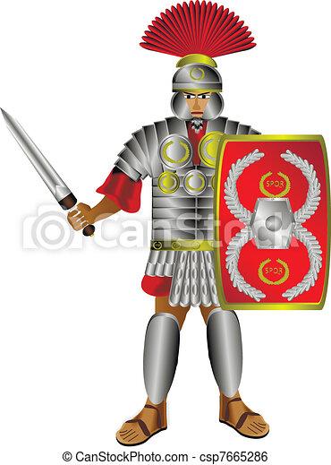 Roman centurion on white - csp7665286