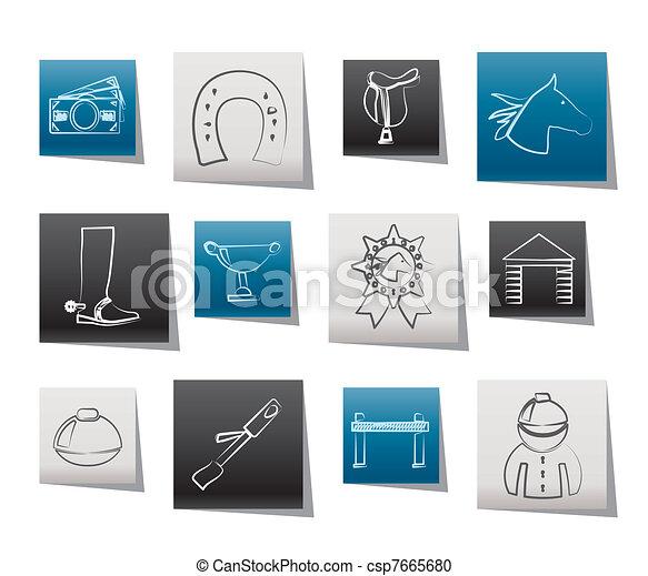 Horse Racing and gambling Icons - csp7665680
