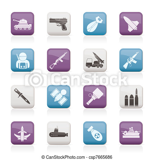 Army, weapon and arms Icons - csp7665686