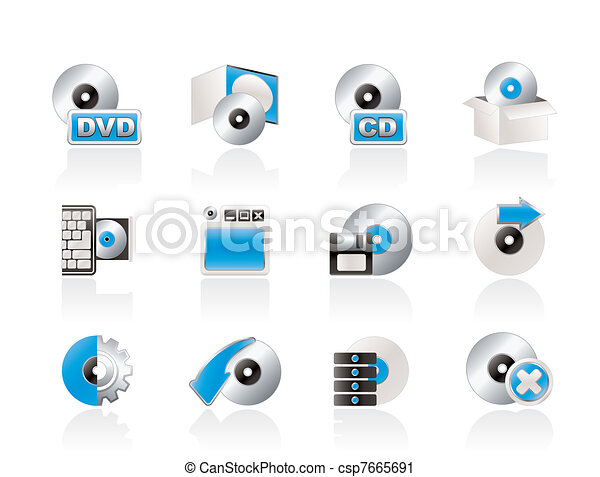 Computer Media and disk Icons - csp7665691