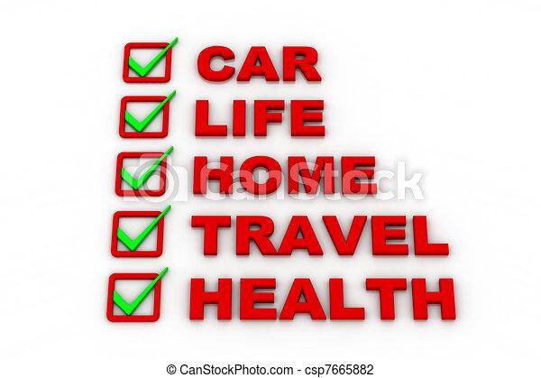 Health Insurance, Travel Insurance - csp7665882