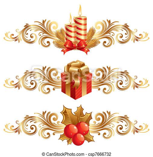 Vector Christmas symbols & ornament - csp7666732