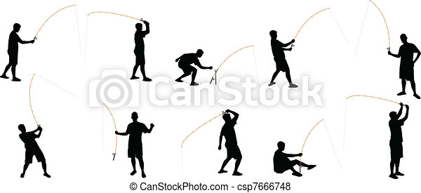 fishing silhouettes - csp7666748