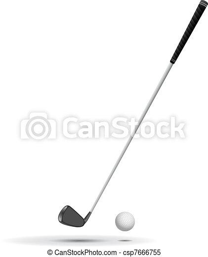 Golf Ball and Club vector illustrat - csp7666755