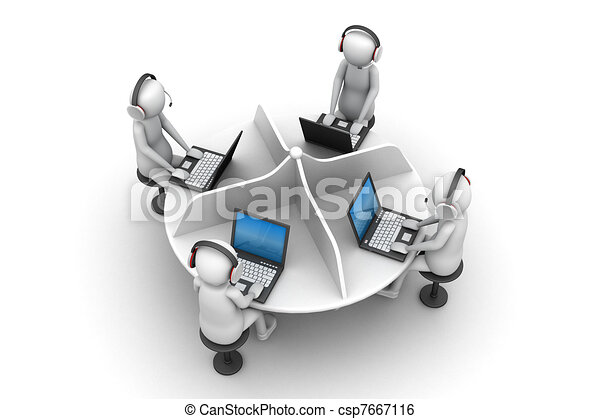 3d man, call centre  - csp7667116