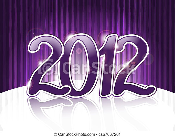 vector violet 2012 on abstract  background with stripes - csp7667261