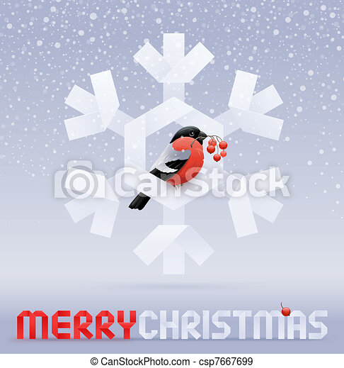 Vector Christmas illustration - a bullfinch with a rowan sitting on a paper snowflake - csp7667699