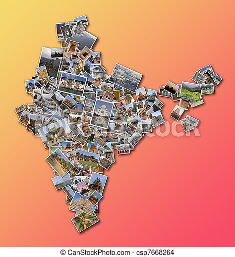 India outline map filled with a collage made of large collection of ...