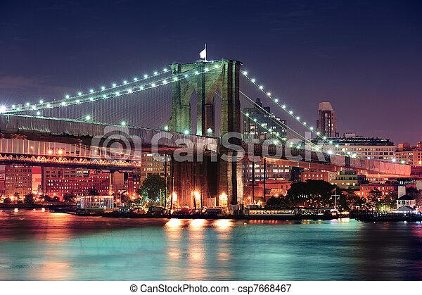Urban bridge night scene - csp7668467