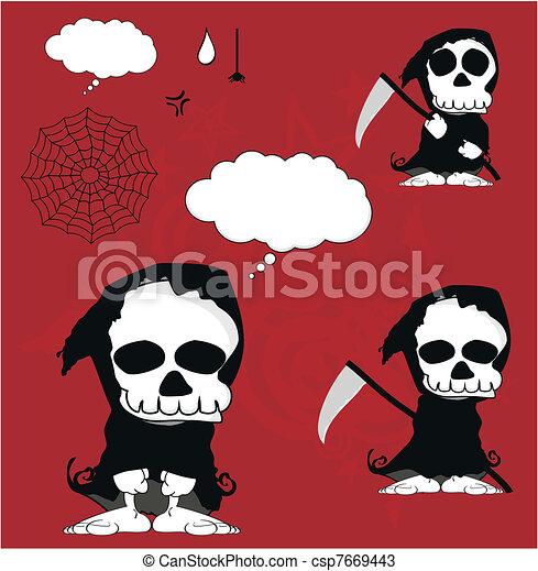 funny dead cartoon set3 - csp7669443