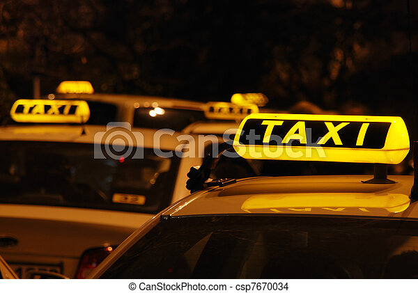 Taxi s waiting in line - csp7670034