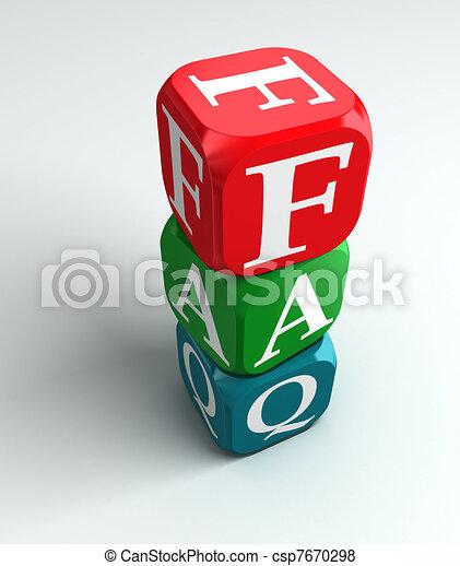 faq 3d colorful buzzword - csp7670298