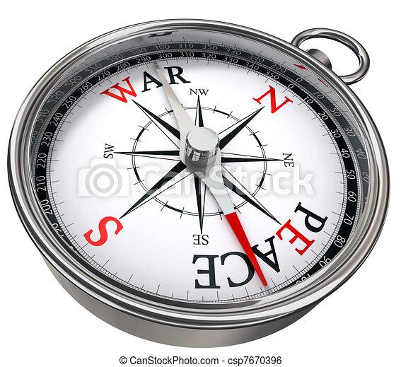 peace versus war concept compass - csp7670396