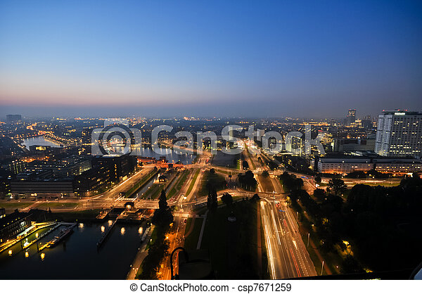Rotterdam night aerial view - csp7671259