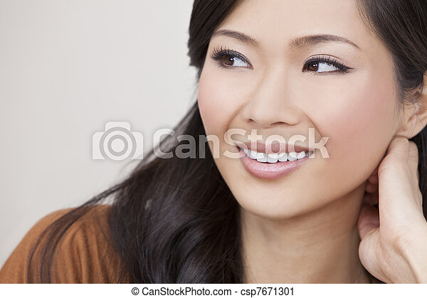 Beautiful Chinese Oriental Asian Woman Smiling - csp7671301