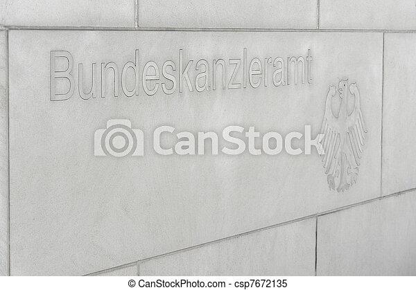 Federal Chancellery script nameplate - csp7672135