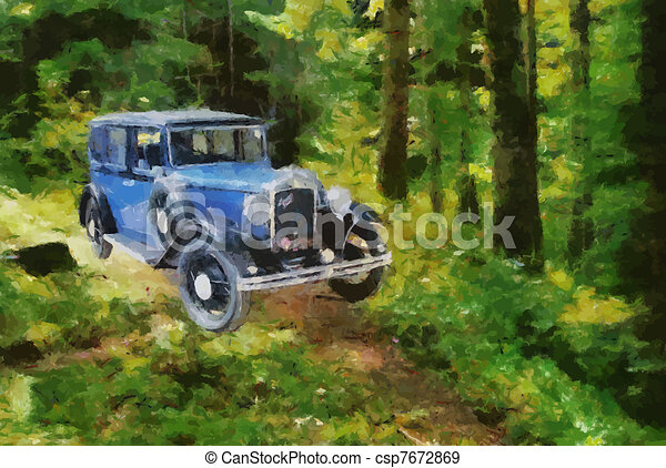 Vector Vintage cars oil painting - csp7672869