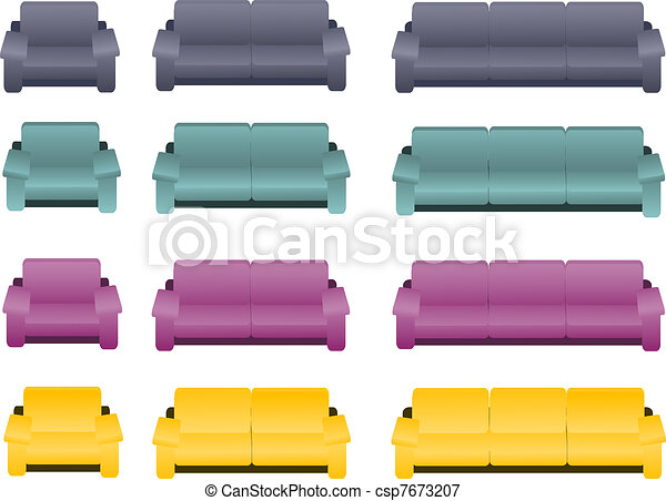 Four different kinds of sofas and a - csp7673207