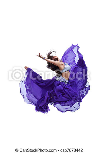 Young girl jump in purple oriental eastern veil - csp7673442