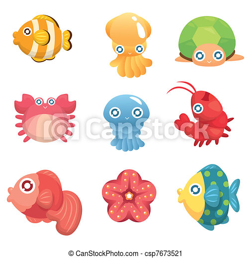 cartoon aquatic animal set - csp7673521