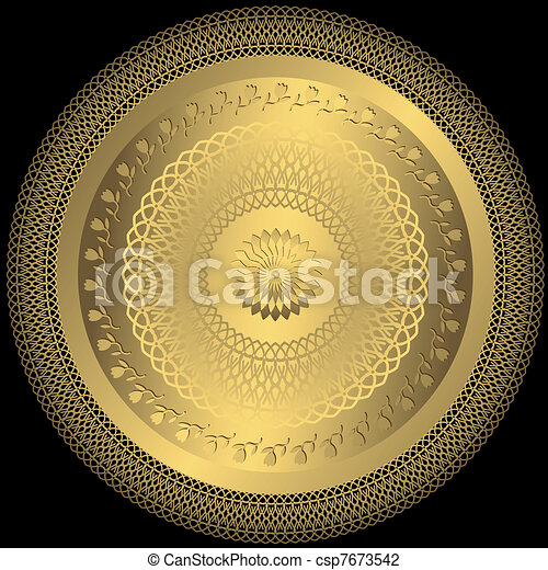Gold elegance round plate - csp7673542