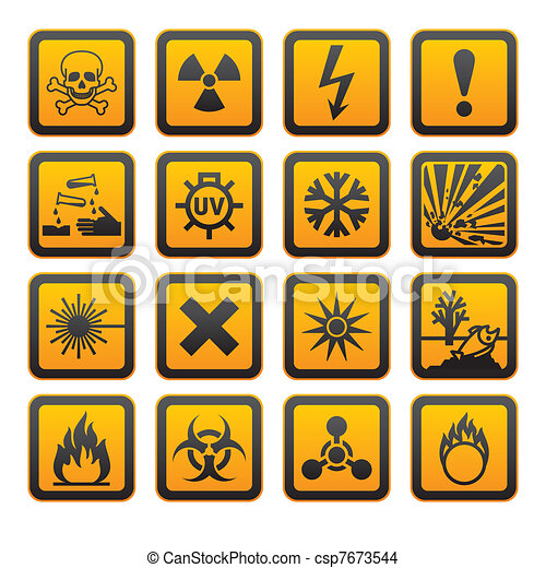 Hazard symbols orange vectors sign - csp7673544