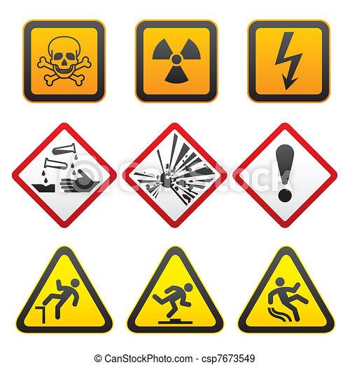 Warning symbols - Hazard Signs - csp7673549