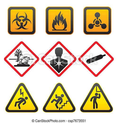 Warning symbols - Hazard Signs - csp7673551