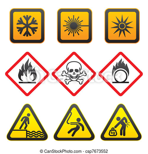 Warning symbols - Hazard Signs - csp7673552