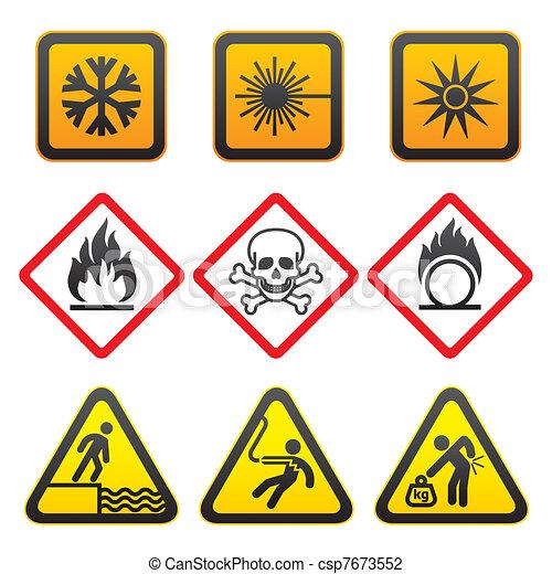 Warning symbols - Hazard Signs - csp7673552