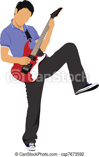 Guitar player isolated on the whit - csp7673592