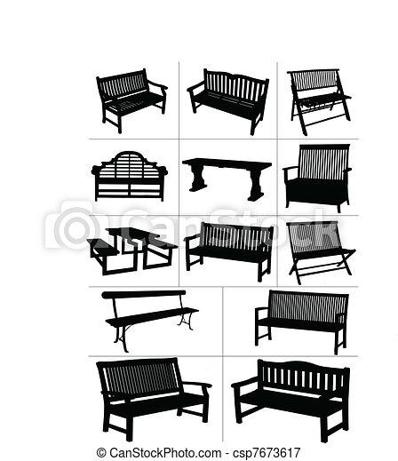 Big set of garden benches.  Vector - csp7673617