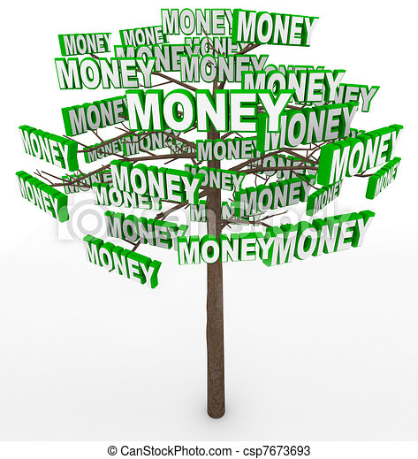 Money Growing on Trees Word on Tree Branches - csp7673693