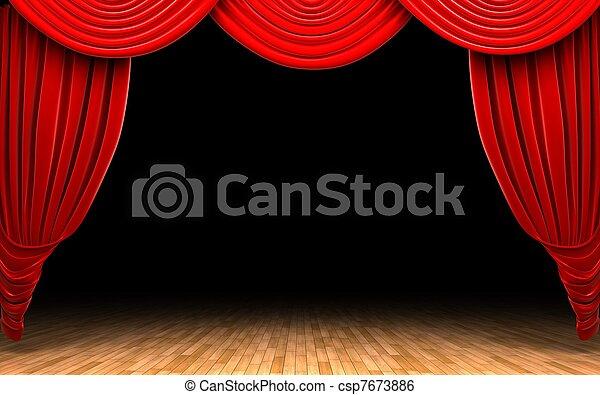 Red velvet curtain opening scene - csp7673886