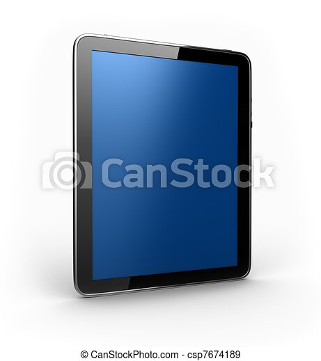 Digital Tablet with blue screen in perspective - csp7674189
