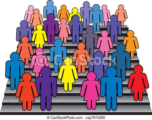 crowd of men and women - csp7674280