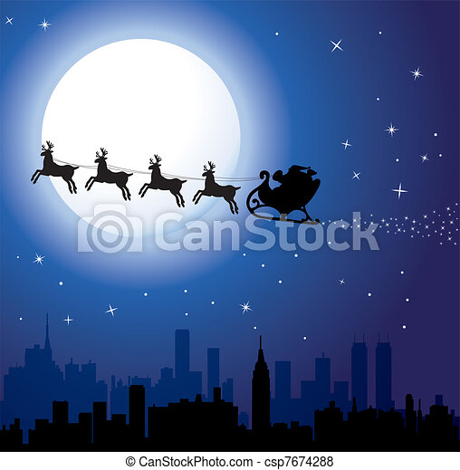 holiday background with santa - csp7674288