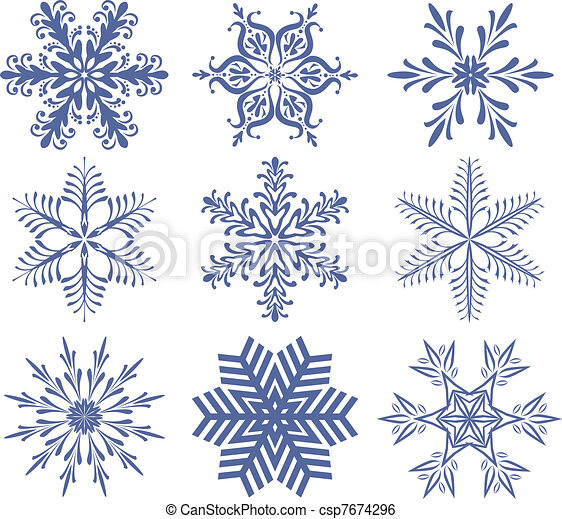 set of snowflakes - csp7674296