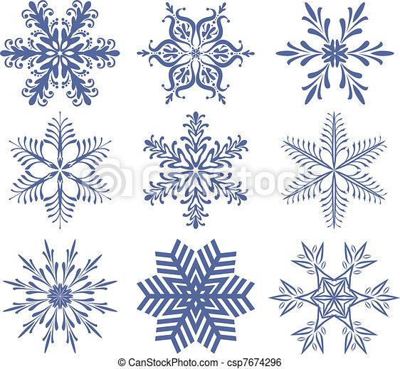 set of snowflakes - csp7674296