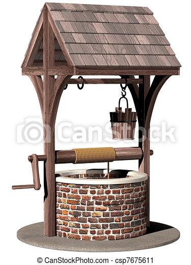 Clipart de souhaiter ancien puits isolated for Puits de decoration exterieur