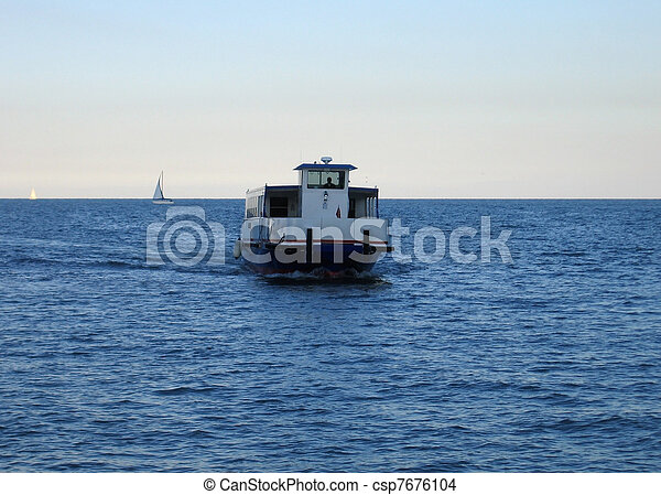 a water taxi in USA at evening time