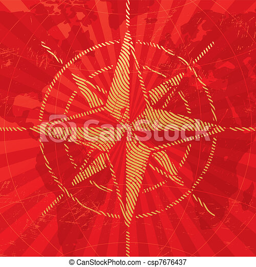 Adventures and travel illustration with compass rose on a map background - csp7676437