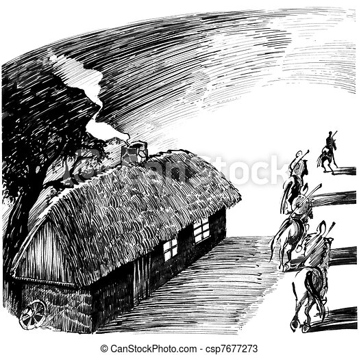 cottage house and four horsemen - csp7677273