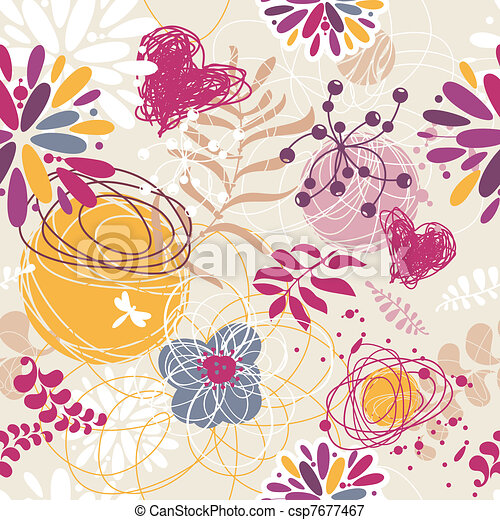 abstract seamless floral retro background - csp7677467