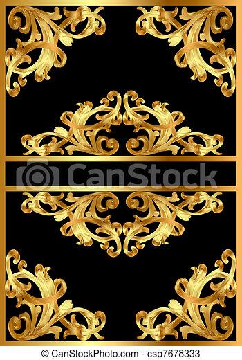 vektoren von muster schwarz hintergrund gold abbildung rahmen csp7678333 suchen sie. Black Bedroom Furniture Sets. Home Design Ideas