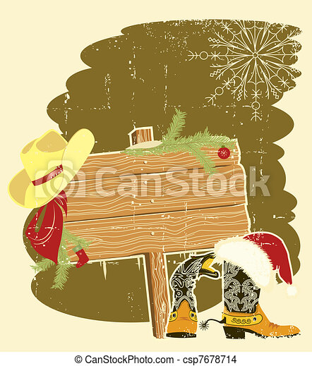 Billboard frame with cowboy boots and Santa's red hat on wood wall.Vector christmas background for text - csp7678714