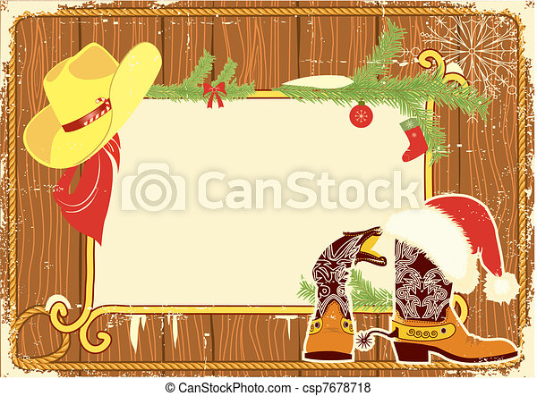 Billboard frame with cowboy boots and Santa's red hat on wood wall.Vector christmas background for text - csp7678718